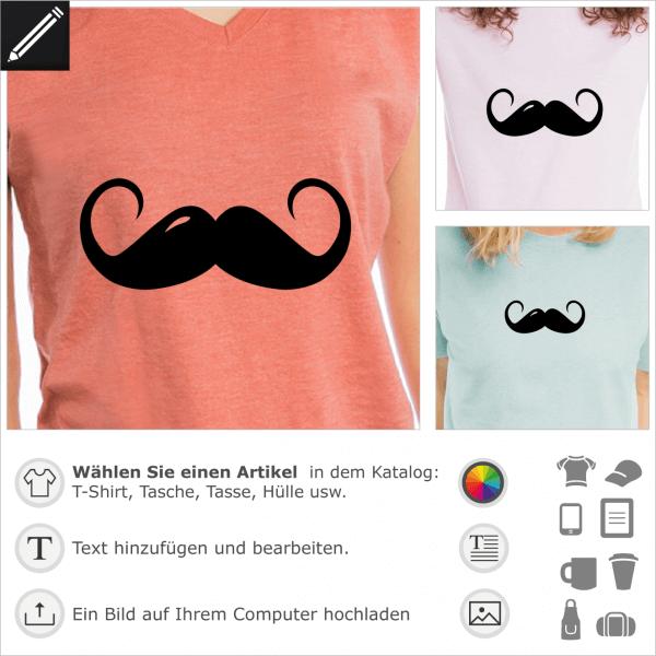 Lange Modeschnurrbart Design. Gestalte ein T-Shirt oder ein Accessoire mit diesem Lustigen Schnurrbart.