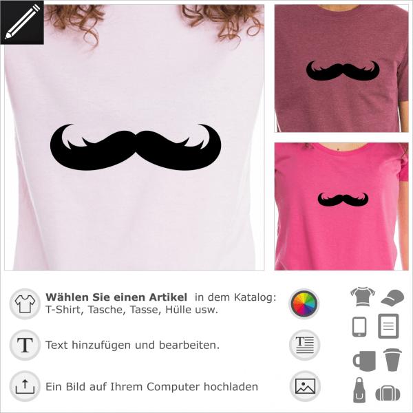 Gestalte ein T-Shirt Schnurrbart mit diesem Fantasie Schnurrbart Design.