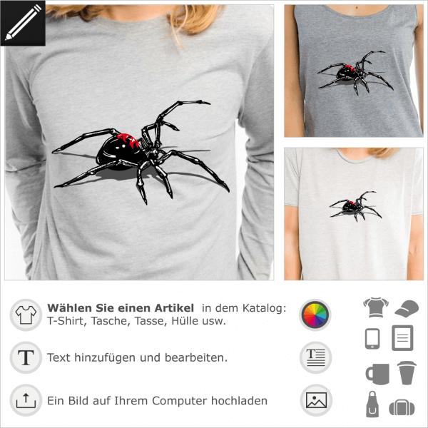 Schwarze Witwe Angriff Zeichnung für T-Shirt Druck