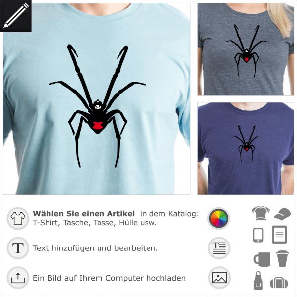 Schwarze Witwe personalisierbares Design. 3 Farben Spinne mit einem roten Fleck auf dem Baum.