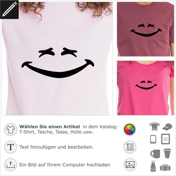Lachen Smiley. Personalisierbarer lachender Smiley für T-Shirt Druck.