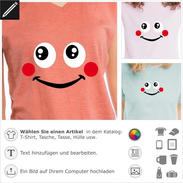 Personalisierbarer Smiley mit rote Backen und Lächeln. Gestalte selbst ein t-Shirt mit diesem Motiv.