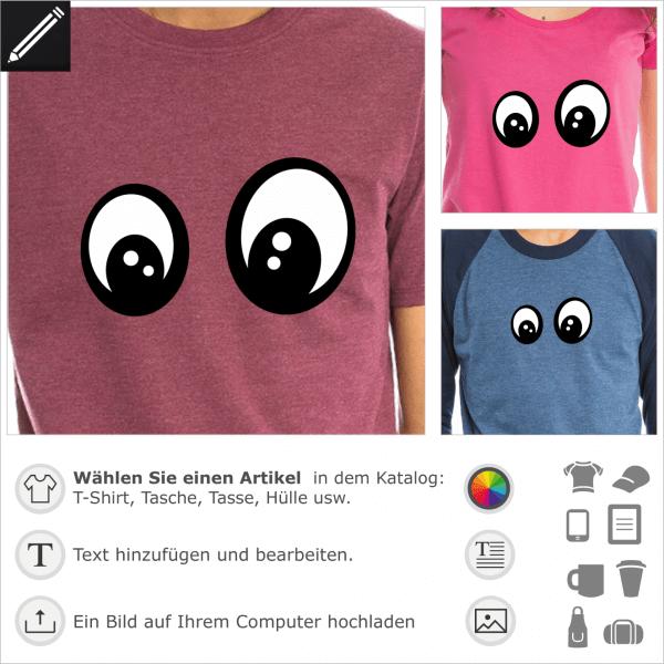 Fragende Augen Smiley für T-Shirt Druck. Personalisierbares Design mit 2 Farben Augen.