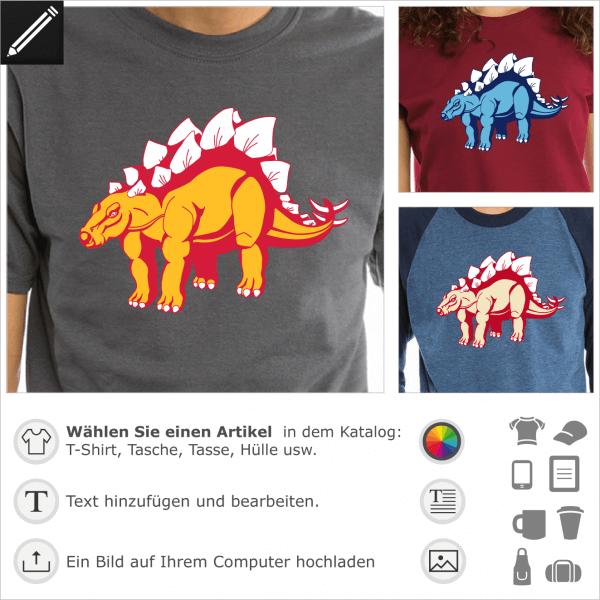 T-Shirt Stegosaurus, Dinosaurier Stegosaurus 3 Farben, um sich selbst zu gestalten und online zu drucken.