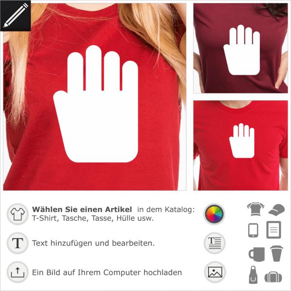 Stop Hand Pikto, 1 Farbe personalisierbarer Hand Piktogramm für T-Shirt Druck.