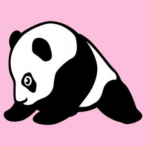 Panda Baby-T-Shirt. Baby-Panda sitzend mit Beinen auf dem Boden, im Profil eingezeichnet.  Ein Panda- und Kawaii-Design zum Anpassen.