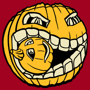 Halloween Design zum Bedrucken von T-Shirts. Der Kürbis frisst einen kleinen Kürbis. Erstelle ein Halloween-T-Shirt