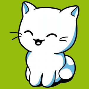 Katze zum Bedrucken von T-Shirts. Original-Design in 3 deckenden Farben. Gestalte ein Kawaii Katzen T-Shirt.