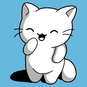 Lustiges Kätzchen-T-Shirt zum Anpassen. Das Kätzchen steht auf ihren Hinterbeinen. Design kawaii 3 Farben zum Bedrucken von T-Shirts.