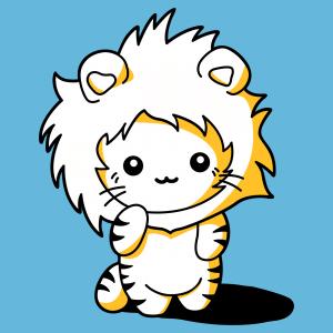 Kawaii Katzen T-Shirt. Lustige Kawaii Katze gekleidet als Löwe mit Mähnenhaube.  Anpassbares 3-Farben-Design.