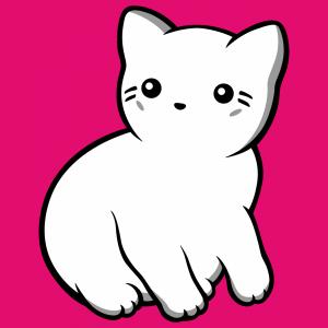 Katze im Kawaii-Stil in solid und Kontur gezeichnet, zum Bedrucken von T-Shirts.