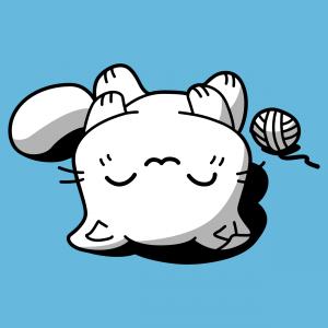 Lustiges Katzen-T-Shirt im Kawaii-Stil. Die Katze schläft auf dem Rücken, neben einem Wollknäuel.