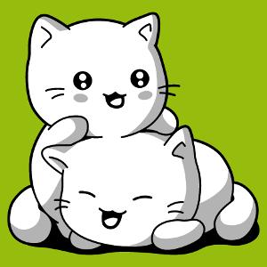Undurchsichtige 3-farbige Kawaii Katzen zum Anpassen und Drucken online. Erstelle ein Katzen T-Shirt.