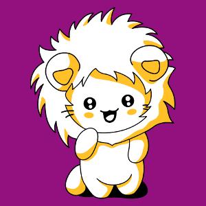 Lustiges Katzen T-Shirt mit Löwenhaube, entworfen im Kawaii-Stil.