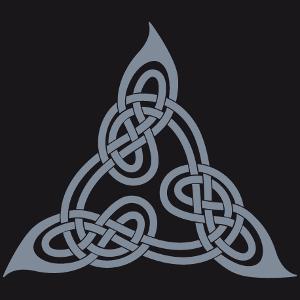 Keltisches Dreiecksdesign nach Lindisfarnes Buch, mit ineinander verschlungenen Schlaufen.