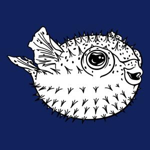 Fisch-T-Shirt. Lustiger Kugelfisch zum online Drucken.  Design von Meeresfischen und Meeresfischen. Runden Puffer Fisch.