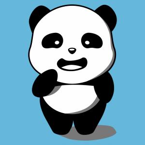 Panda T-Shirt im Kawaii-Stil gestaltet. 3-farbiger stehender Panda, der online gedruckt werden soll.