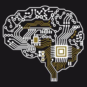 Kundenspezifisches Leiterplatten Design in Form eines Gehirns im Profil eingezeichneten. Erstelle ein originelles Nerd und Roboter T-Shirt.