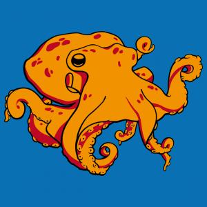 Ozean-T-Shirt. Kraken zum Aufdrucken auf T-Shirt.  Ozeandesign und Meeresleben. Gestalte ein originelles Tintenfisch-T-Shirt. Oktopus.
