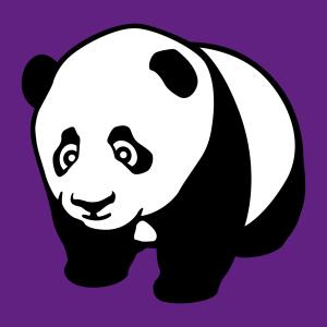 Panda-T-Shirt. Panda steht auf allen Vieren.  Baby Panda Design in zwei Farben zum personalisieren und online drucken von T-Shirts, Bechern und Tasche