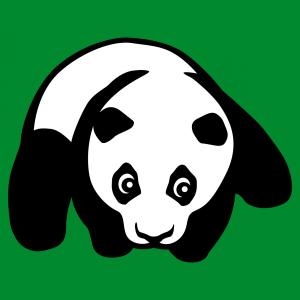 Panda kawaii T-Shirt. Panda Baby auf flachem Bauch, zweifarbiges Panda-Design zum Bedrucken von T-Shirts oder Accessoires.