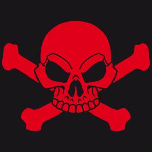 Anpassbares Piraten-T-Shirt, um sich online zurechtzufinden. Piratenflagge mit Totenkopf und Kreuzknochen.