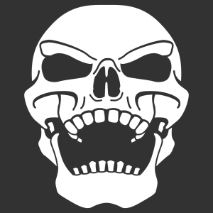 Schädel-T-Shirt zum Personalisieren und Drucken online. Füge einen Text hinzu, ändere die Farbe. Der Schädel kichert.