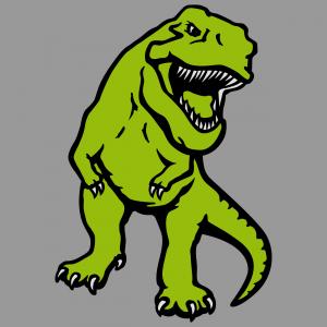 Dreifarbiger Dinosaurier zum Bedrucken von T-Shirts. T-rex opak.