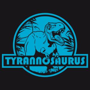 Gestalte dein originelles Dinosaurier-T-Shirt mit diesem stylischenT-rex auf einem roten, runden Hintergrund.