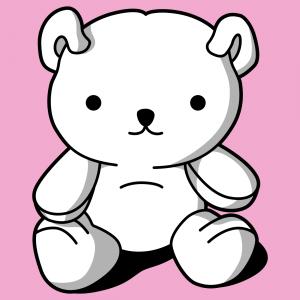 Individuelles Kawaii-T-Shirt mit sitzendem Teddybär in 3 Farben.