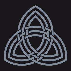 Triquetra in eine anpassbare Farbe. Nerd und mythologisches Design des Thor-Hammers, mit einer dreifachen Linie und verschlungenen Konturen.