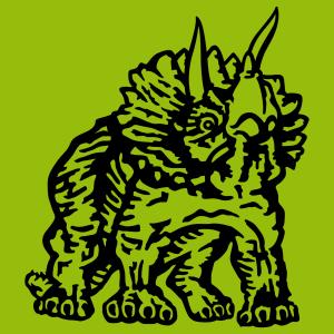 Dinosaurier-T-Shirt. Triceratops, die in dicken und dunklen flachen Linien gezeichnet sind, ein spezielles Dinosaurier Design, das auf T-Shirt gedruck