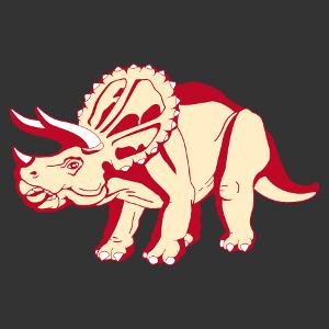 Anpassbares triceratops T-Shirt. Dinosaurier im Profil gezeichnet. T-Shirt-Druck ab 1 Stuck