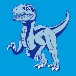 Gestalten Sie Ihr einzigartiges und originelles Velociraptor-T-Shirt mit diesem 3-farbigen Dinosaurier in voller Länge.