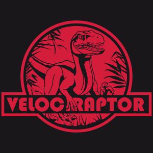 T-Shirt Raptor. Velociraptor Schnitt auf runder Linie, mit Dschungelformen und Vegetation.
