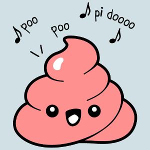 Witzige Sprüche Design, Kak Emoji. Kawaii Kack und Text Poo Poo Pidoo.