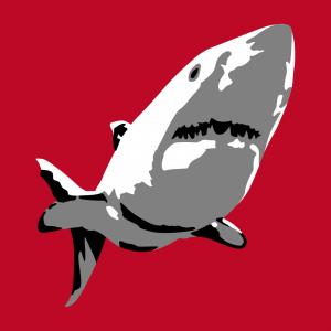 Weißer Hai T-Shirt zu gestalten. Menschenhai  Designs für T-Shirt Druck.