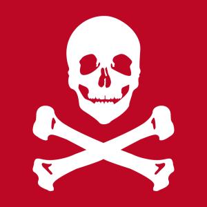 Pirat und Piratenflagge Design für T-Shirt Druck