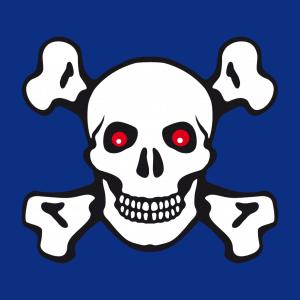 Piratenflagge und Totenkopf Design für T-Shirt Druck