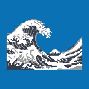 Pixel und Welle Design für T-Shirt Druck