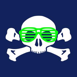Nerd und Totenkopf Design für T-Shirt Druck
