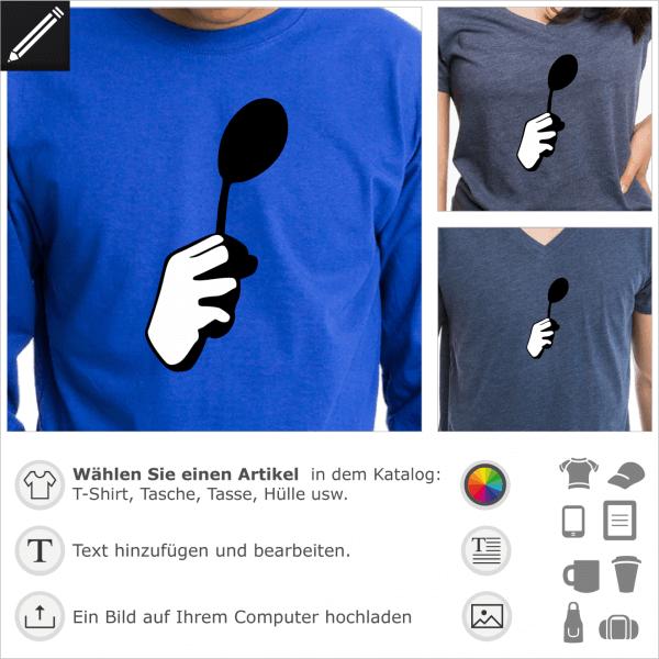 there is no spoon personalisierbares Design für T-Shirt Druck. Faust und Löffel Illustration in Bezug auf Matrix.