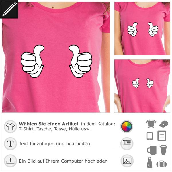 Cool Story Design. Zweifarbiges Daumen hoch Motiv im Comic Stil. Mickey Handschuhe Thumbs up Zeichnung für T-Shirt Druck.