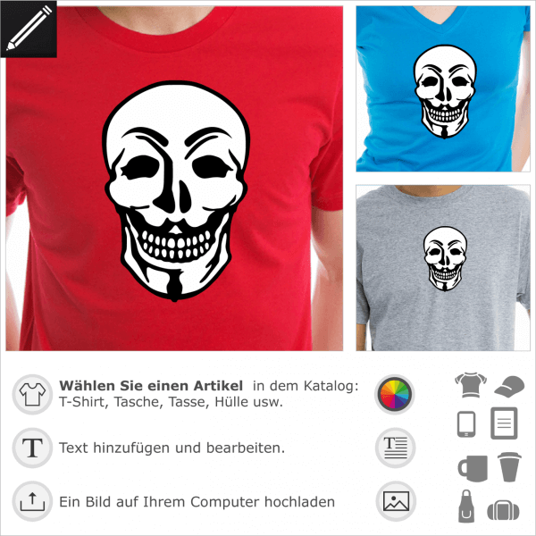 Anonymous Maske Totenkopf Mashup. Gestalte ein T-Shirt Geek und Anonymous.