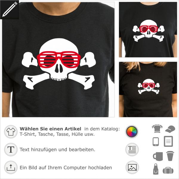 Geek Nerd Totenkopf Design für T-Shirts Druck. Gestalte ein T-Shirt für Geeks mit diesem personalisierbaren Totenkopf mit Brillen.