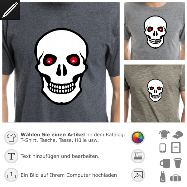 Piraten Totenkopf mit roten Augen. Personalisierbarer Totenkopf für T-Shirt Druck. 3 Farben Piraten Design.