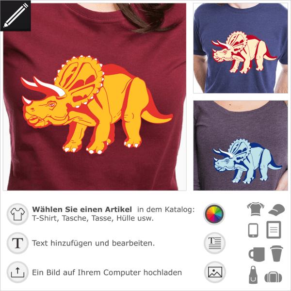 Anpassbares Dinosaurier-T-Shirt für den Online-Druck. Passen Sie das Design an und erstellen Sie ein Triceratops T-Shirt.