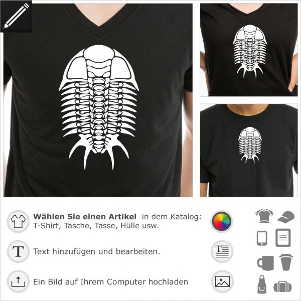 Trilobit Skelett, unifarbes Fossil Monster Design