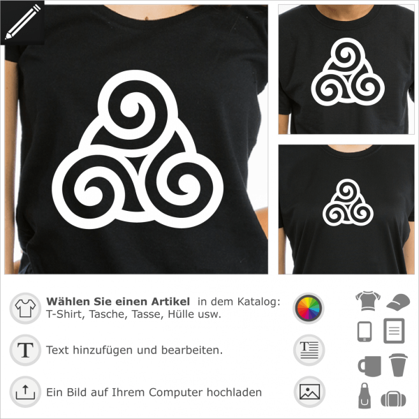 Anpassbare Triskele mit einem Kreis in der Mitte. Keltisches Design mit Serife für T-Shirt Druck.