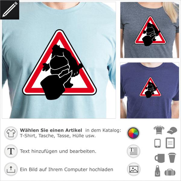 Troll Piktogramm in einem Verkehrsschild, Humor und Geek Design.